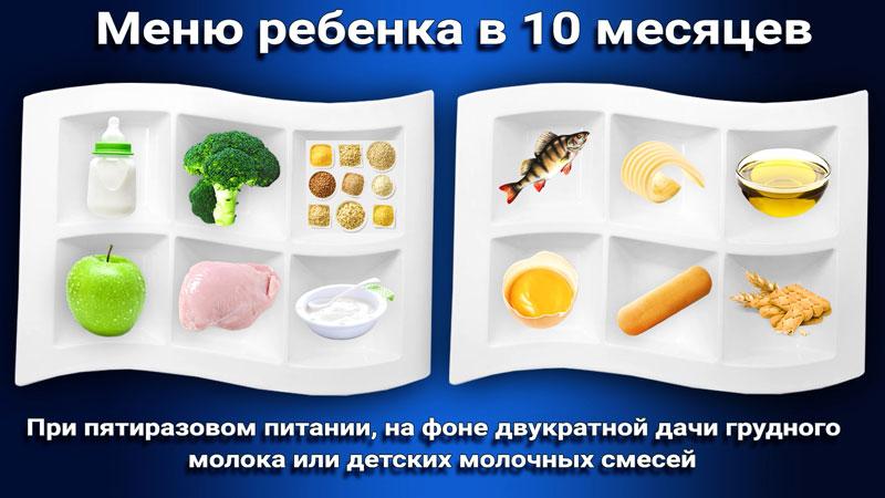 Меню прикорм ребенка в 10 месяцев